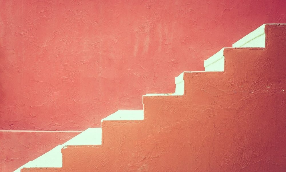 Red concrete staircase - vintage effect processing