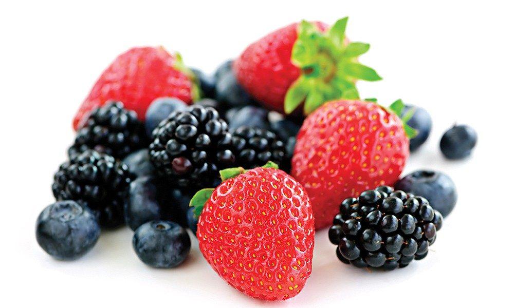 frutos vermelhos em Inglês